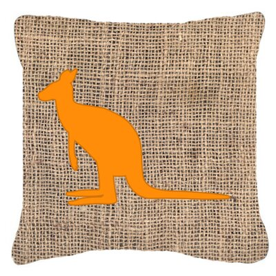 Kangaroo Burlap Indoor/Outdoor Throw Pillow Size: 14 H x 14 W x 4 D, Color: Orange