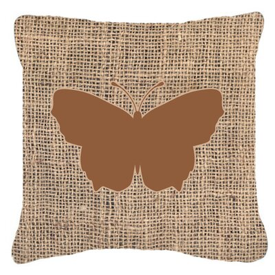 Butterfly Burlap Square Water Resistant Indoor/Outdoor Throw Pillow Size: 14 H x 14 W x 4 D, Color: Brown