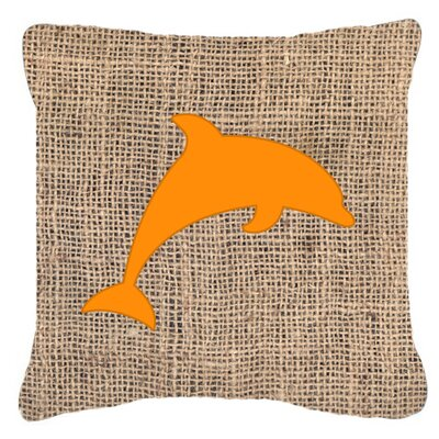 Burke Dolphin Burlap Indoor/Outdoor Throw Pillow Size: 14 H x 14 W x 4 D, Color: Orange