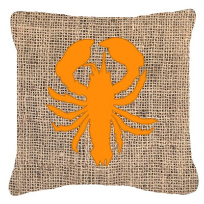 Lobster Burlap Indoor/Outdoor Throw Pillow Size: 14 H x 14 W x 4 D, Color: Orange
