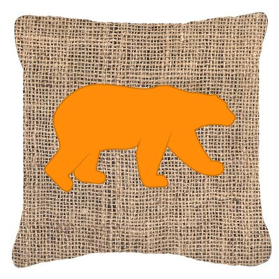 Butterfield Bear Burlap Indoor/Outdoor Throw Pillow Size: 18 H x 18 W x 5.5 D, Color: Orange