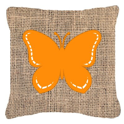 Butterfly Burlap Water Resistant Indoor/Outdoor Throw Pillow Size: 14 H x 14 W x 4 D, Color: Orange