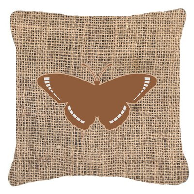 Butterfly Graphic Print Burlap Fade Resistant ndoor/Outdoor Throw Pillow Size: 18 H x 18 W x 5.5 D, Color: Brown