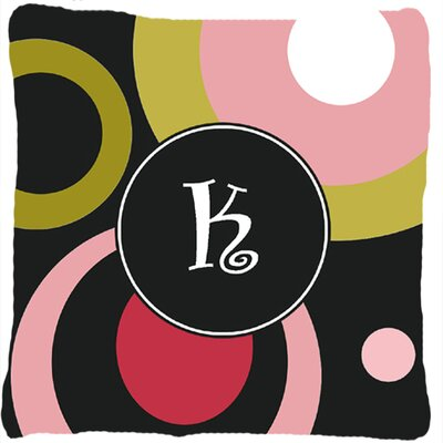 Monogram Retro in Black Indoor/Outdoor Throw Pillow Letter: K