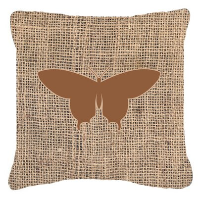 Elegant Butterfly Burlap Square Indoor/Outdoor Throw Pillow Size: 18 H x 18 W x 5.5 D, Color: Brown