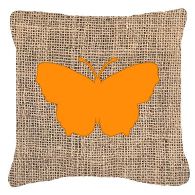 Butterfly Burlap Square Water Resistant Indoor/Outdoor Throw Pillow Size: 14 H x 14 W x 4 D, Color: Orange