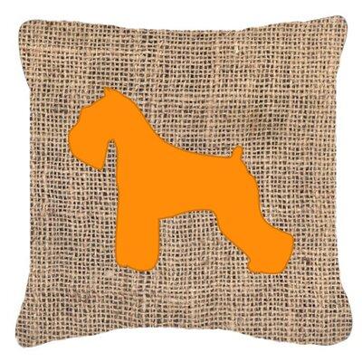 Schnauzer Burlap Indoor/Outdoor Throw Pillow Size: 14 H x 14 W x 4 D, Color: Orange