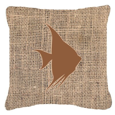 Angel Fish Burlap Indoor/Outdoor Throw Pillow Size: 18 H x 18 W x 5.5 D, Color: Brown