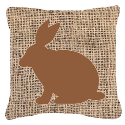 Rabbit Burlap Indoor/Outdoor Throw Pillow Size: 14 H x 14 W x 4 D, Color: Brown