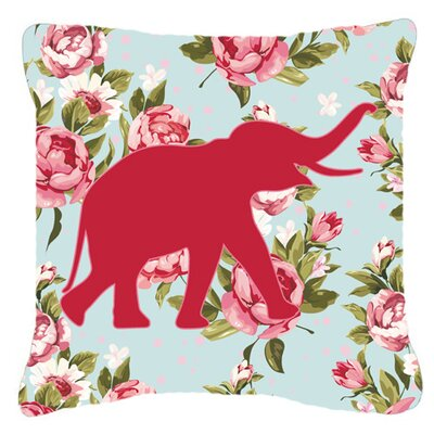 Elephant Shabby Elegance Blue Roses Indoor/Outdoor Throw Pillow Size: 18 H x 18 W x 5.5 D