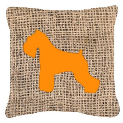Schnauzer Burlap Indoor/Outdoor Throw Pillow Size: 18 H x 18 W x 5.5 D, Color: Orange