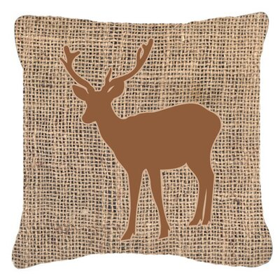 Deer Burlap Square Indoor/Outdoor Throw Pillow Size: 14 H x 14 W x 4 D, Color: Brown