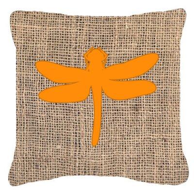 Dragonfly Burlap Indoor/Outdoor Throw Pillow Size: 14 H x 14 W x 4 D, Color: Orange
