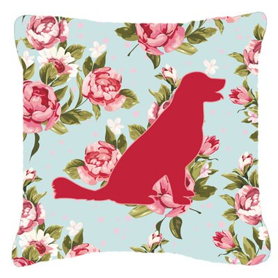 Labrador Shabby Elegance Blue Roses Indoor/Outdoor Throw Pillow Size: 14 H x 14 W x 4 D