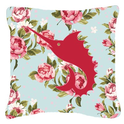 Swordfish Shabby Elegance Blue Roses Indoor/Outdoor Throw Pillow Size: 18 H x 18 W x 5.5 D