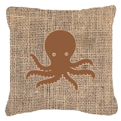 Octopus Burlap Indoor/Outdoor Throw Pillow Size: 14 H x 14 W x 4 D, Color: Brown
