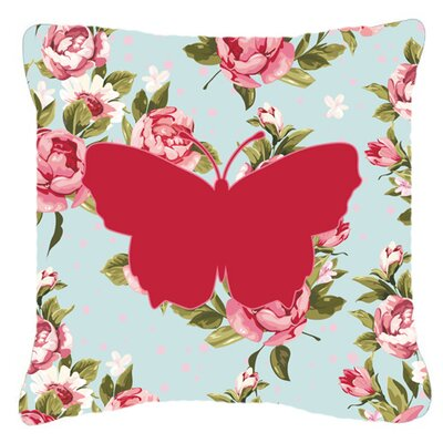 Butterfly Shabby Elegance Blue Roses Square Indoor/Outdoor Throw Pillow Size: 14 H x 14 W x 4 D