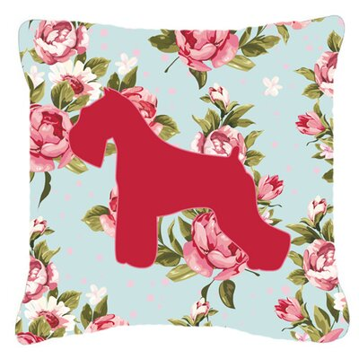 Schnauzer Shabby Elegance Blue Roses Indoor/Outdoor Throw Pillow Size: 18 H x 18 W x 5.5 D