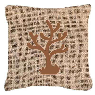 Coral Burlap Indoor/Outdoor Throw Pillow Size: 14 H x 14 W x 4 D, Color: Brown