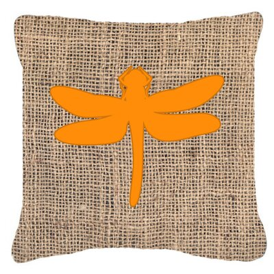 Dragonfly Burlap Indoor/Outdoor Throw Pillow Size: 18 H x 18 W x 5.5 D, Color: Orange