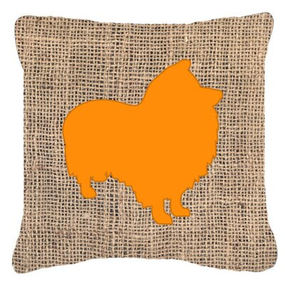 Sheltie Burlap Indoor/Outdoor Throw Pillow Size: 14 H x 14 W x 4 D, Color: Orange