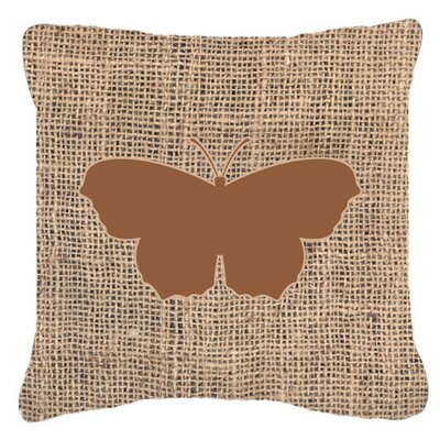 Butterfly Graphic Print Burlap Mildew Resistant Indoor/Outdoor Throw Pillow Size: 18 H x 18 W x 5.5 D, Color: Brown