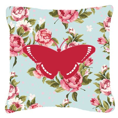 Contemporary Butterfly Shabby Elegance Blue Roses Indoor/Outdoor Fabric Throw Pillow Size: 18 H x 18 W x 5.5 D