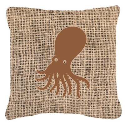 Octopus Burlap Indoor/Outdoor Throw Pillow Size: 18 H x 18 W x 5.5 D, Color: Brown