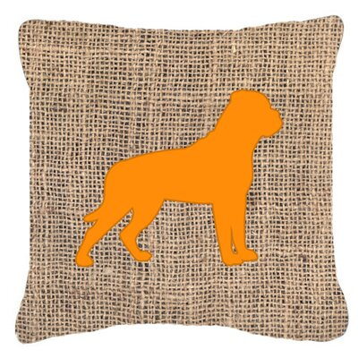 Rottweiler Burlap Indoor/Outdoor Throw Pillow Size: 14 H x 14 W x 4 D, Color: Orange
