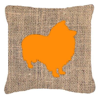 Sheltie Burlap Indoor/Outdoor Throw Pillow Color: Orange, Size: 18 H x 18 W x 5.5 D