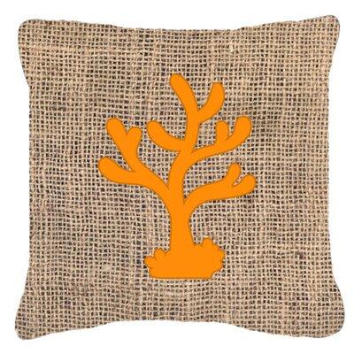 Coral Burlap Indoor/Outdoor Throw Pillow Size: 14 H x 14 W x 4 D, Color: Orange
