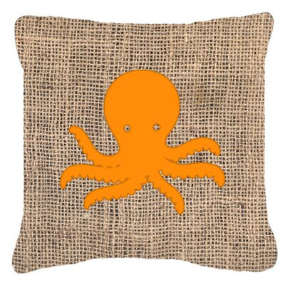 Octopus Burlap Indoor/Outdoor Throw Pillow Size: 14 H x 14 W x 4 D, Color: Orange