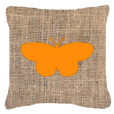 Elegant Butterfly Burlap Mildew Resistant Indoor/Outdoor Throw Pillow Size: 14 H x 14 W x 4 D, Color: Orange