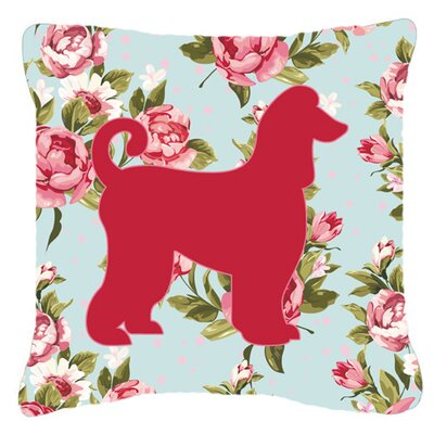 Afghan Hound Shabby Elegance Blue Roses Indoor/Outdoor Throw Pillow Size: 14 H x 14 W x 4 D