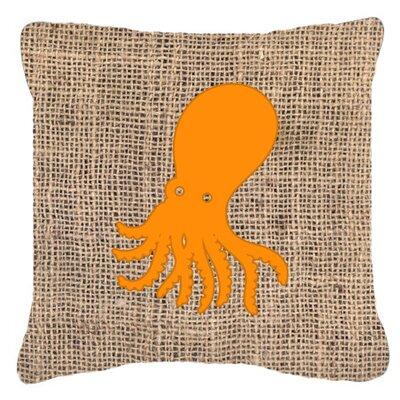 Octopus Burlap Indoor/Outdoor Throw Pillow Size: 14 H x 14 W x 4 D, Color: Orange