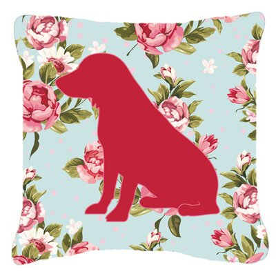 Boykin Spaniel Shabby Elegance Blue Roses Indoor/Outdoor Throw Pillow Size: 14 H x 14 W x 4 D