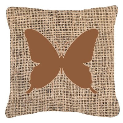 Modern Butterfly Burlap Square Indoor/Outdoor Throw Pillow Size: 18 H x 18 W x 5.5 D, Color: Brown