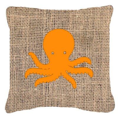 Octopus Burlap Indoor/Outdoor Throw Pillow Size: 18 H x 18 W x 5.5 D, Color: Orange