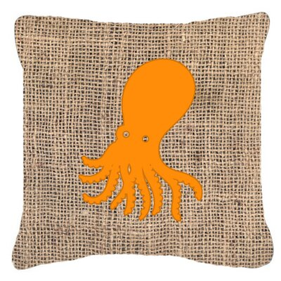 Octopus Burlap Indoor/Outdoor Throw Pillow Size: 18 H x 18 W x 5.5 D, Color: Orange