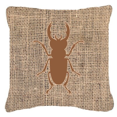 Jasper Contemporary Beetle Burlap Indoor/Outdoor Throw Pillow Size: 14 H x 14 W x 4 D, Color: Brown