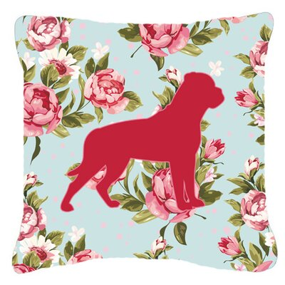 Rottweiler Shabby Elegance Blue Roses Indoor/Outdoor Throw Pillow Size: 14 H x 14 W x 4 D
