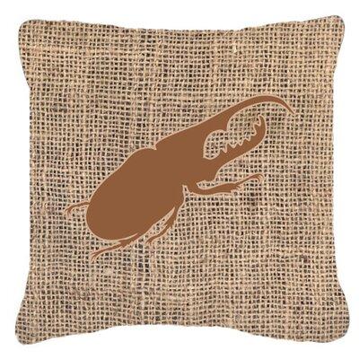 Jasper Beetle Burlap Square Indoor/Outdoor Throw Pillow Size: 18 H x 18 W x 5.5 D, Color: Brown
