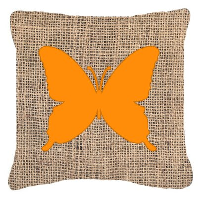 Modern Butterfly Burlap Square Indoor/Outdoor Throw Pillow Size: 14 H x 14 W x 4 D, Color: Orange
