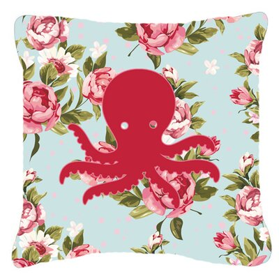 Octopus Shabby Elegance Blue Roses Indoor/Outdoor Throw Pillow Size: 14 H x 14 W x 4 D