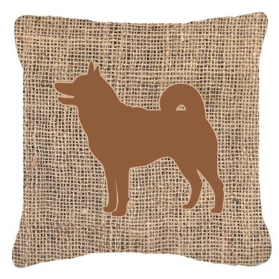 Shiba Inu Burlap Indoor/Outdoor Throw Pillow Size: 14 H x 14 W x 4 D, Color: Brown