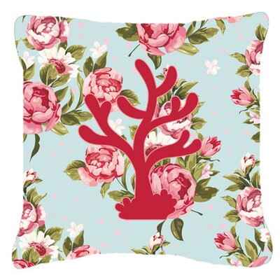 Coral Shabby Elegance Blue Roses Indoor/Outdoor Throw Pillow BB1101-RS-BU-PW1818