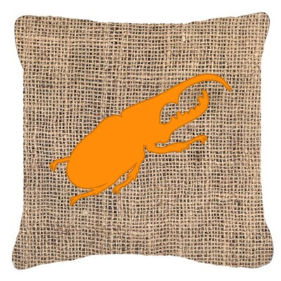 Jasper Beetle Burlap Square Indoor/Outdoor Throw Pillow Size: 14 H x 14 W x 4 D, Color: Orange