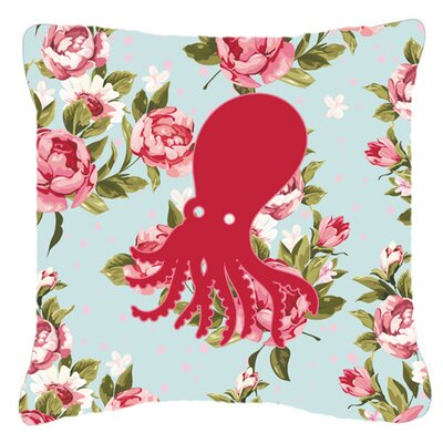Octopus Shabby Elegance Blue Roses Indoor/Outdoor Throw Pillow BB1098-RS-BU-PW1818