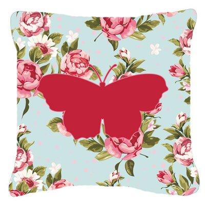 Butterfly Shabby Elegance Blue/Pink Roses Indoor/Outdoor Throw Pillow Size: 18 H x 18 W x 5.5 D