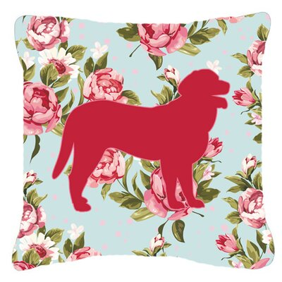 Curly Coated Retriever Shabby Elegance Blue Roses Indoor/Outdoor Throw Pillow Size: 14 H x 14 W x 4 D